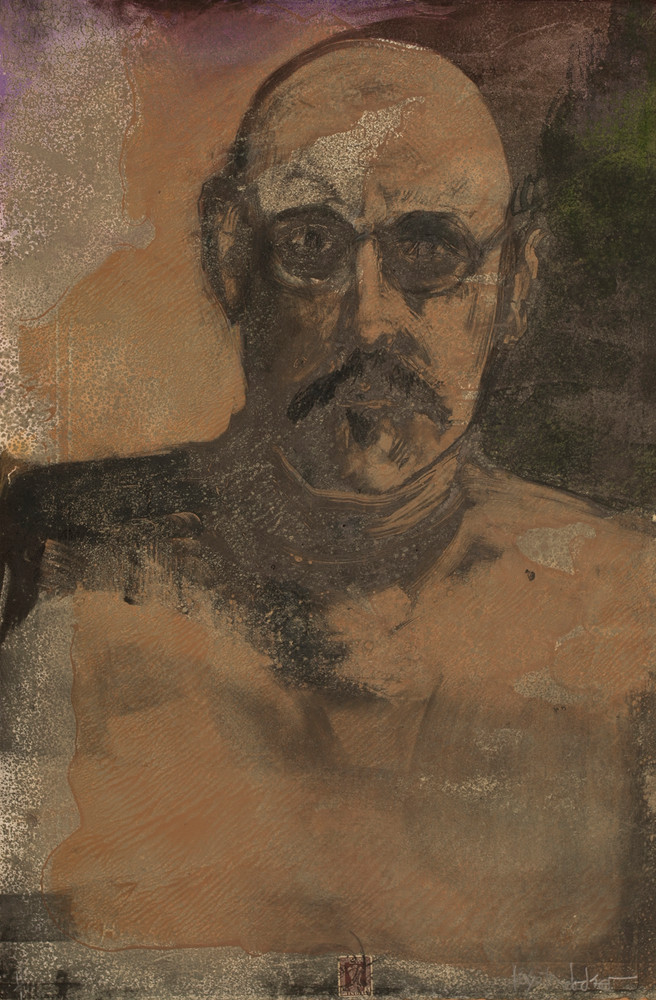 Self Portrait IV, monotype, 22 x 15 inches