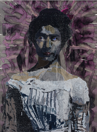 Mary, acrylic and colored pencil on paper, 99 x 72 inches