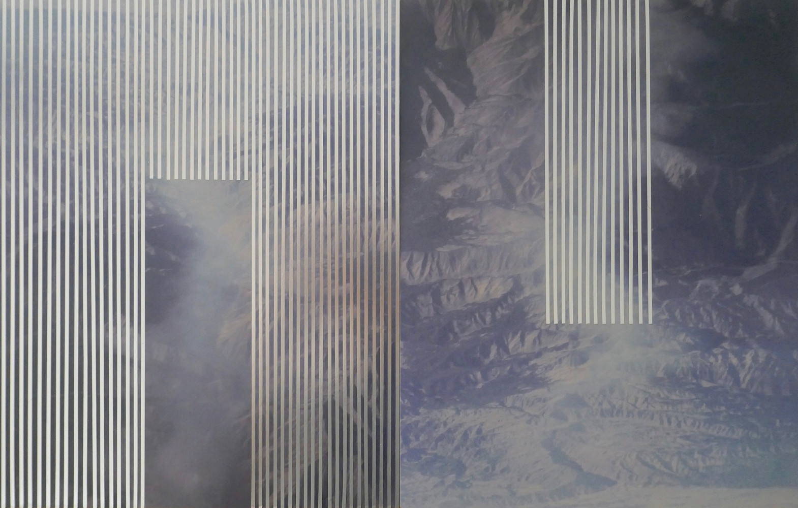 nowhere/now here (blue mountains), photographs on aluminum, mylar tape, 14 x 22 inches