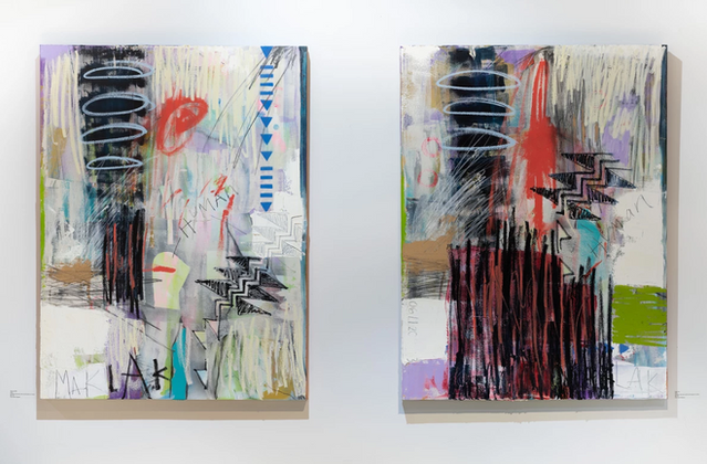 Get Out and Under Fire, aerosol and acrylic, graphite, charcoal, wax crayon, oil bars on stretched canvas, 48 x 36 each