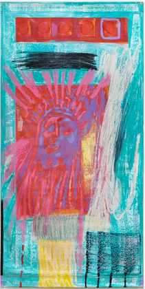 Chief Chief Bundle, acrylic, graphite, oil bars on vintage plastic exhibition banner, 96 x 48 inches