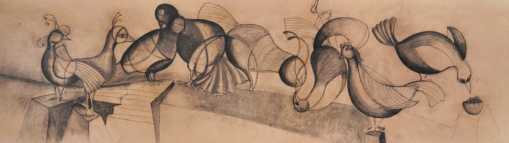 Dancer Birds, charcoal on craft paper, 26 x 126 inches