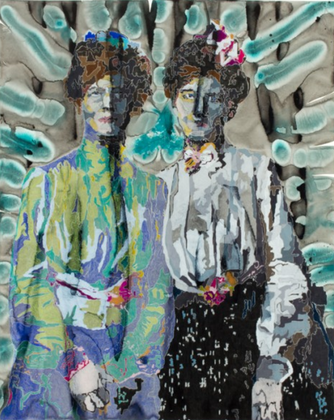 The Twins, acrylic and colored pencil on paper, 44 x 35.5 inches