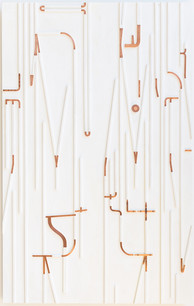 Cobra Colored Crayon, copper, 60 x 37 inches wood, and paint on panel,