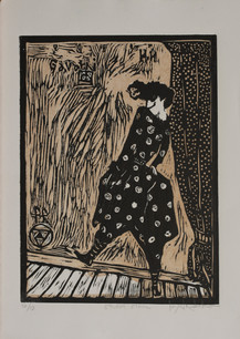 Storm Stroll, (Brown-ish Blinky), woodcut, 12 x 9 inches