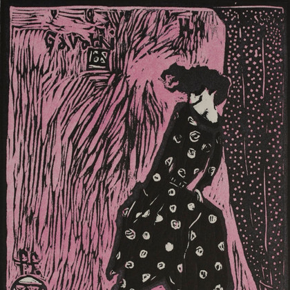 Storm Stroll (pink), woodblock print, 12 x 9 inches