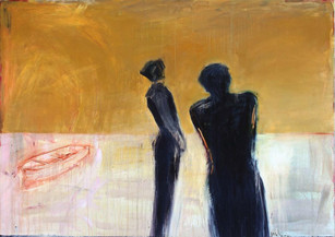 She and I, oil on canvas, 64 x 90 inches