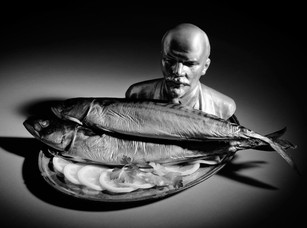 STILL LIFE WITH LENIN AND SMOKED MACKEREL, digital print on Hahnemuhle photo pearl, 10 x 13.5 inches