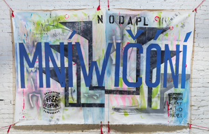 Free Red Fawn, mixed media painting on canvas, Standing Rock #NODAPL (No Dakota Access Pipeline), Collaborative painting from Oceti Sakowin Art Tent, 2016