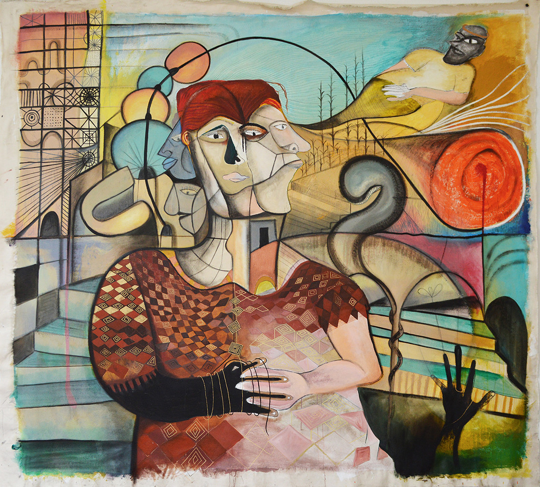 Four Figures and a Spirit, mixed media on canvas, 89 x 98 inches