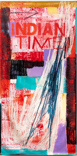 Time Bundle, acrylic, graphite, oil bars on vintage plastic exhibition banner, 96 x 48 inches