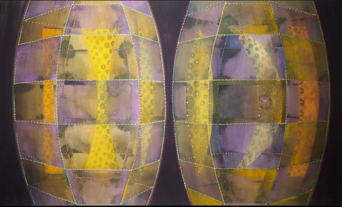 Lens Lure, watercolor and gouache on paper, 30 x 45 inches