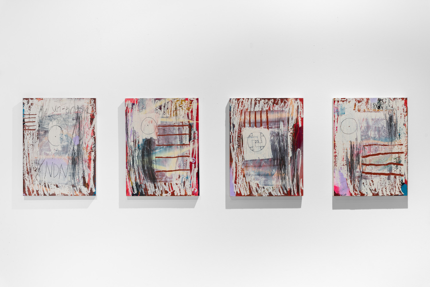 A Lie Nation, The Lines, acrylic, aerosol, graphite, oil paints on wood panel, 4 panel series, 24 x 18 inches each