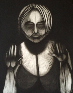 Surrender, charcoal on paper, 96 x 42 inches