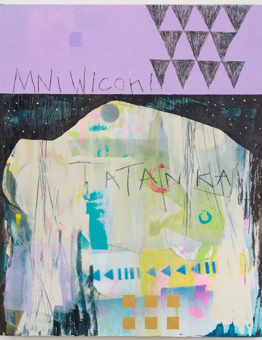 Tatanka, aerosol, acrylic, graphite, charcoal, oil paints on birch panel, 30 x 24 inches