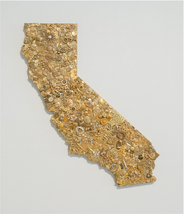 Rush, gold jewelry mounted on wood panel with bronze sheet metal, 38 x 33 x 1.5 inches