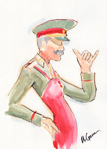 STALIN SKETCHES GREAT! (Order of the Day, No. 5), watercolor, 15 x 11 inches