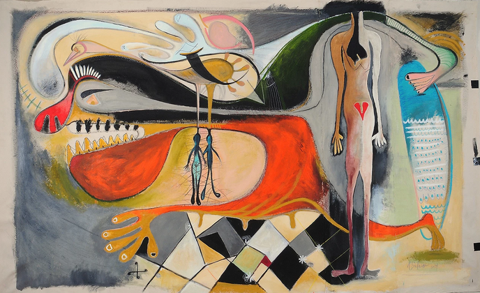 Figure Reaching, mixed media on canvas, 66 x 107 inches