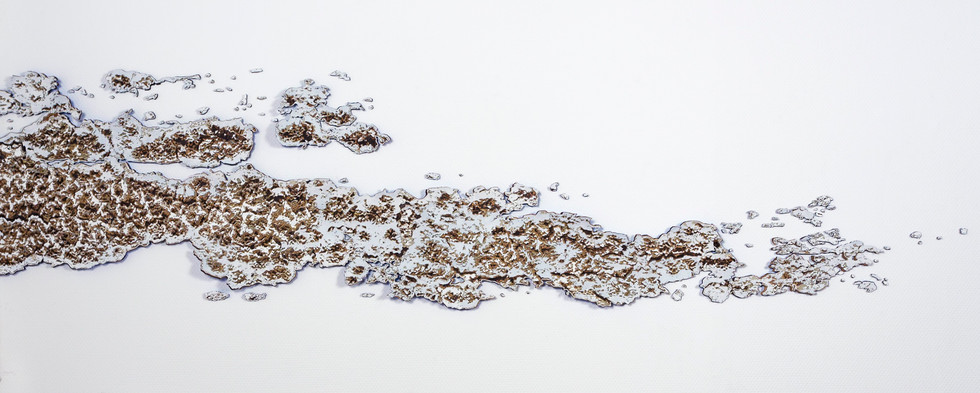 Recompose (wall installation), gouache on hand cut watercolor paper, 16 x 69 inches