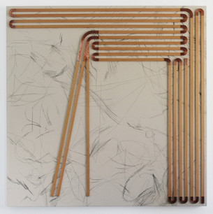 Unpainted Painting, The Shape of a Poem About, copper, wood, pencil, and canvas, 45 x 45 inches