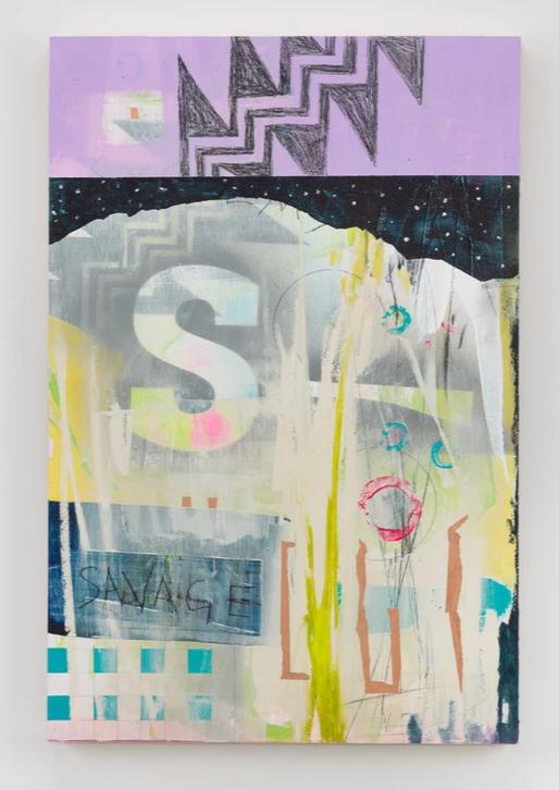 Savage Li Li Li, aerosol, acrylic, graphite, charcoal, oil paints on birch panel, 30 x 20 inches