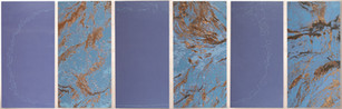 Sky/Water II, oil on 6 wood panels, 45 x 142.5 inches