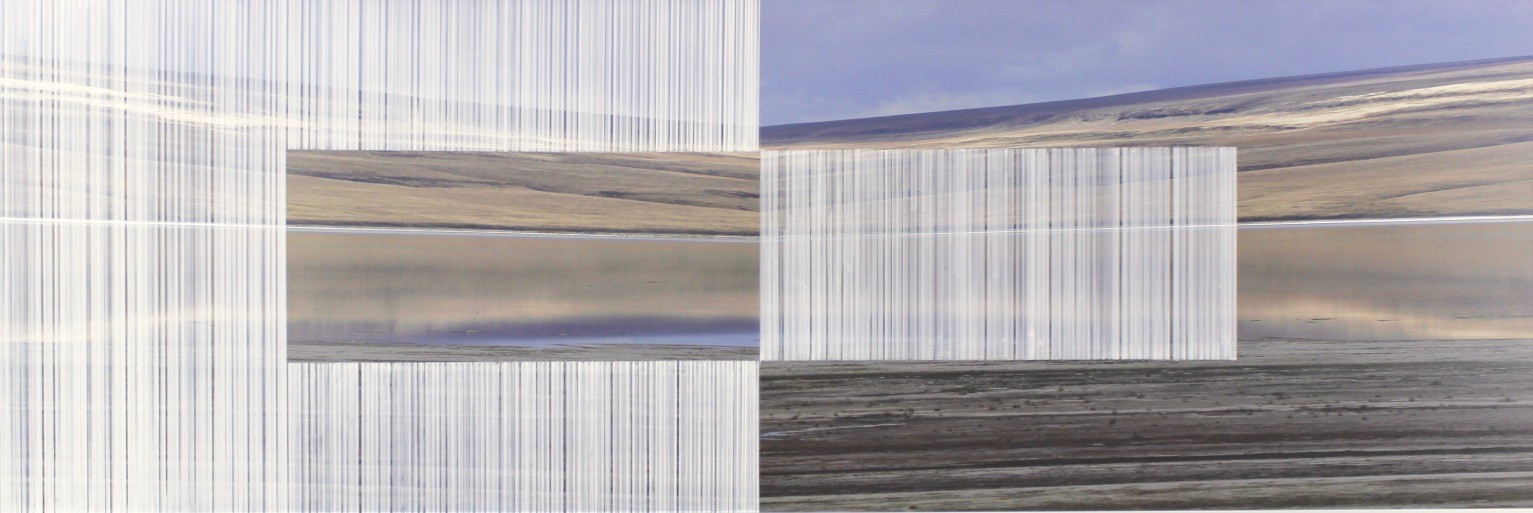 nowhere/now here (inland island 2), photographs on aluminum, acrylic, 20 x 60 inches