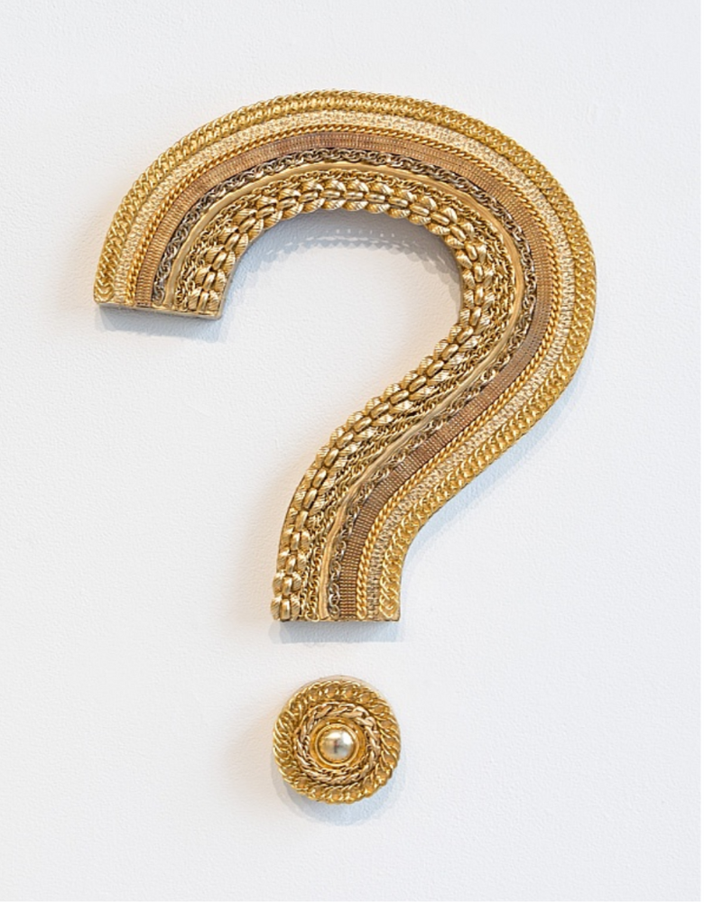 Million-Dollar Question, gold jewelry mounted on wood panel with bronze sheet metal, 17 x 12 x 1 inches