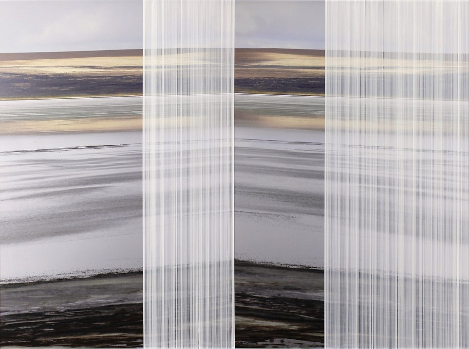 nowhere/now here (inland island 1), acrylic, photographs printed on aluminum, 30 x 40 inches