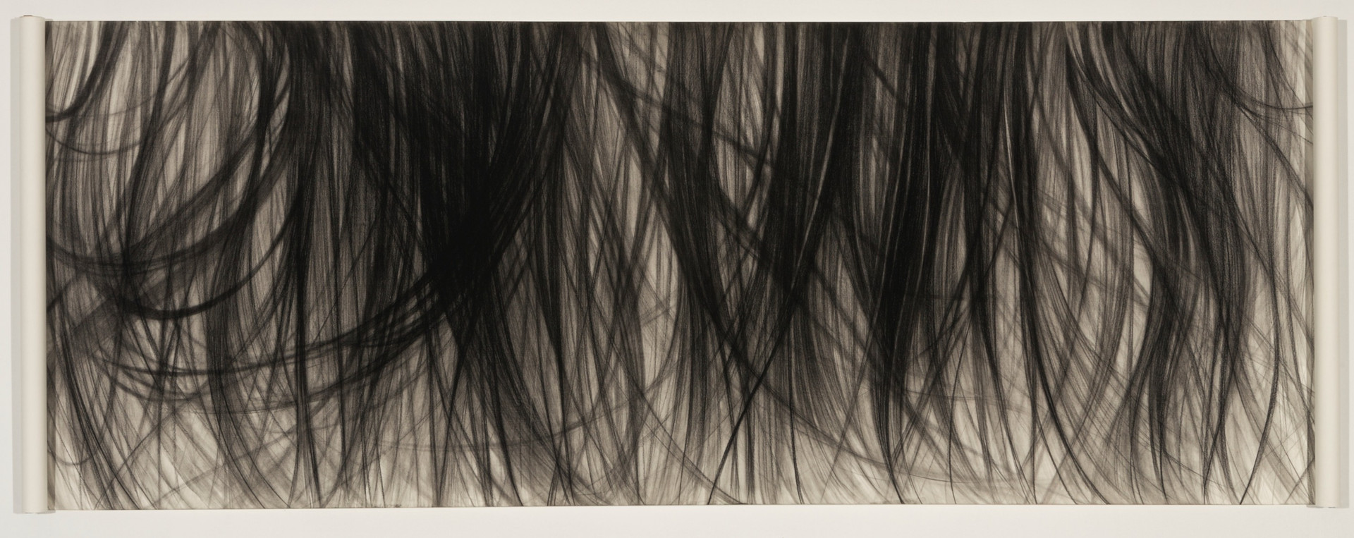 Breeze#2, charcoal on paper with scrolls, 36 x 96 inches
