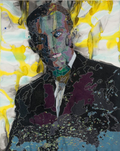 J. Victor,  acrylic and colored pencil on paper, 48 x 36 inches