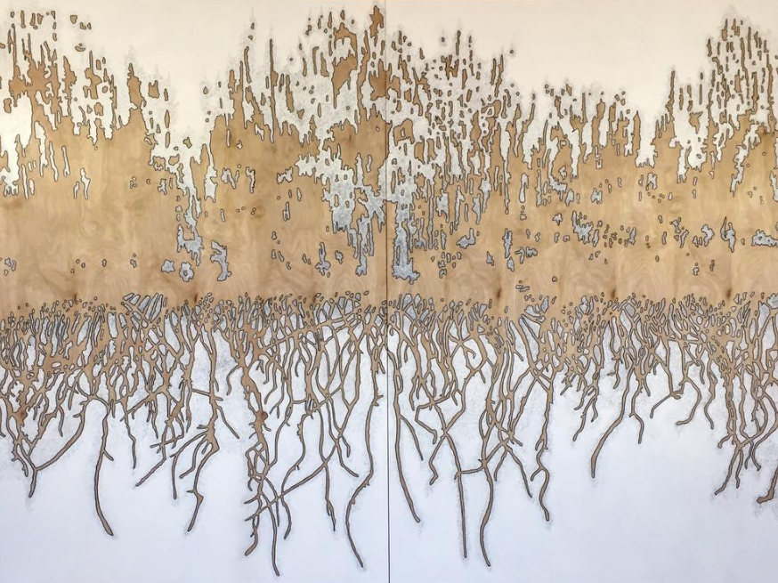 burn (absence), acrylic and graphite on birch panels, 72 x 96 inches