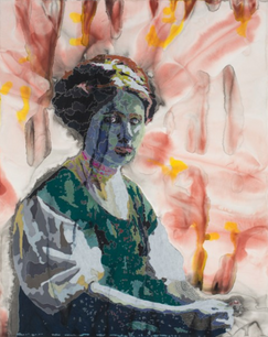 Miss Carmen,  acrylic and colored pencil on paper, 48 x 36 inches
