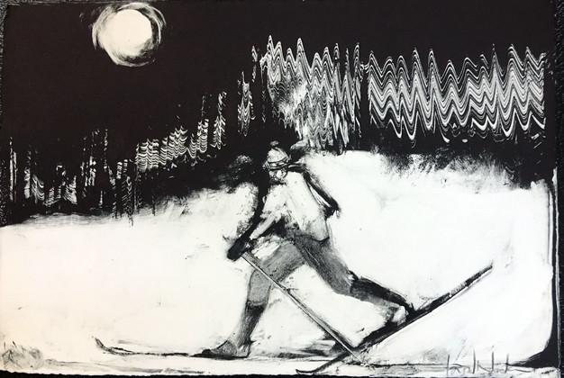 Skier, monoprint, 7 x 11 inches