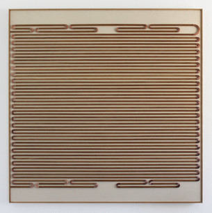 Unpainted Painting, A Paragraph Regarding Where, copper, oak, and canvas on panel, 34.75 x 32.75 inches