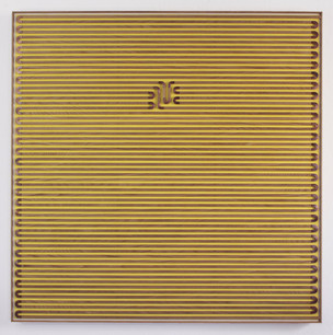 Painted Unpainted Painting, Yellow Passage, Copper, canvas, paint, and oak, 45 x 45 inches