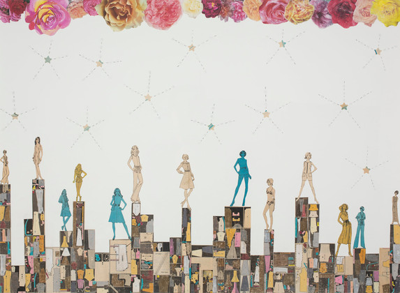 Star Searchers, collage, pencil on paper, 27.75 x 34.5 inches