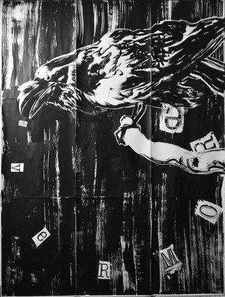 Crow Makes His Presence Know, sumi ink on paper, 120 x 90 inches