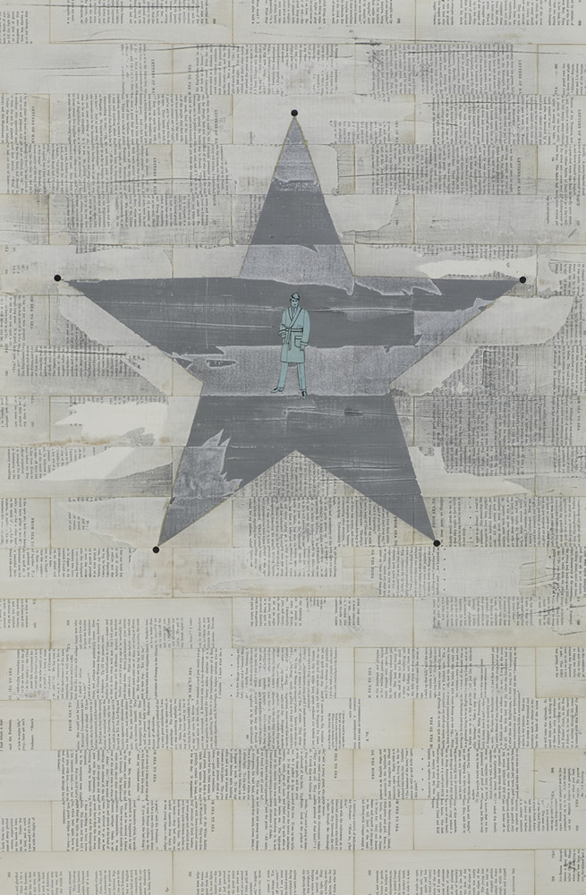 Lonestar, paper and paint on panel, 36 x 24 inches
