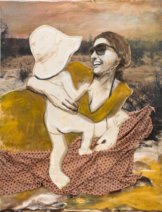 Sagebrush, Woman, and Child, multimedia tapestry, 38 x 34 inches