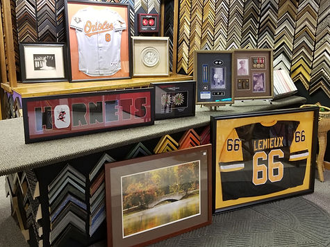 Shadow box, Jersey Framing, Buhl Park Photos, Letter Mats, Miltary Medals, Awards, Old photo reframed