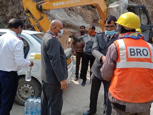 Exército de Salvação fornece apoio em Uttarakhan, após a explosão da geleira e o colapso da barragem