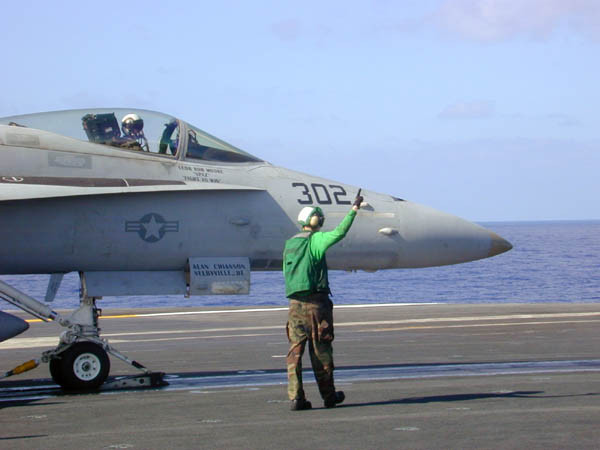 F/A-18 ready for catapult launch from the deck of the USS Abraham Lincoln while in Hawaiian waters