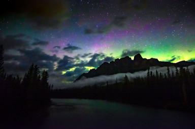 Aurora over Castle Mountain