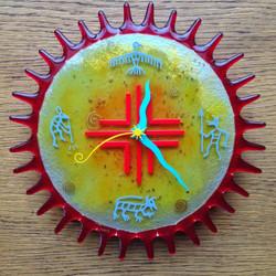 Arizona Sun Fused Glass Wall Clock