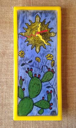 Brittlebush and Cactus