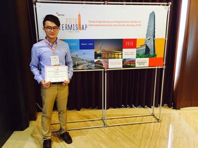 Congrats Sheng-Jen Cheng for winning the TERMIS-AP 2016 SYIS Poster Award (TOP 10%)