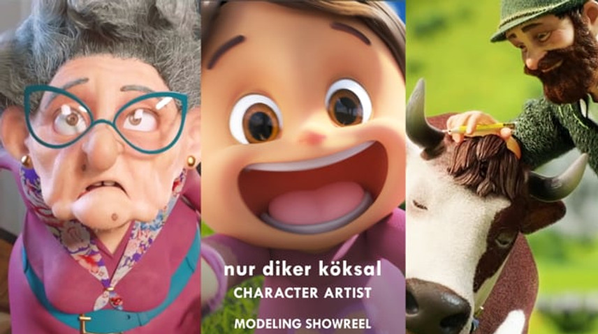 Please see the breakdown below for my tasks and project details.  BREAKDOWN:  00:00-00:21    sculpting and modeling of the characters Farmer, Farmer's Daughter and Cows from the Milka Goodness animated spot directed by sam southward at Nexus studios / London. Clothes, Fur and Texture made by other members of the team.  00:22-00:31    Modeling of the character GRANDPA for the commercial Officeworks Australia 'Gift for Imagineers' / Treasure Hunt, produced by XYZ studios, directed by Luca & sinem.   00:32-00:34    sculpting of the Teenage Girl character for a pitch, designed by Margaux Rosiau for Nexus studios / London.  00:35-00:40    Character design and modeling of Ms. Mihri Müsfik(1886-1954) for pre-production, who was one of the first and renowned Turkish female painters, projected as a documentary by Berat İlk, Berna Gençalp and Yonca Ertürk, produced by Anima Istanbul.  00:41-00:47Modeling of the character HAsENE from the animated feature film 'Kötü Kedi serafettin(the Bad Cat)' 2016, produced by Anima Istanbul Post Production and directed by Ayse Ünal, Mehmet Kurtulus. Based on the story of Bülent Üstün.  00:48-00:51Modeling of the character TONGUÇ from the animated feature film 'Kötü Kedi serafettin(the Bad Cat)' 2016, produced by Anima Istanbul Post Production  and directed by Ayse Ünal, Mehmet Kurtulus. Based on the story of Bülent Üstün.  00:52-00:58Modeling of the character ADNAN from the animated feature film 'Kötü Kedi serafettin(the Bad Cat)' 2016, produced by Anima Istanbul Post Production and directed by Ayse Ünal, Mehmet Kurtulus. Based on the story of Bülent Üstün.  00:59-01:05    Modeling of the character MİsKET from the animated feature film 'Kötü Kedi serafettin(the Bad Cat)' 2016, produced by Anima Istanbul Post Production and directed by Ayse Ünal, Mehmet Kurtulus. Based on the story of Bülent Üstün.  01:06-01:07sculpting practise of a toon character, designed by Liz Murphy.  01:08-01:10    sculpting practise of toon characters, designed by Ah