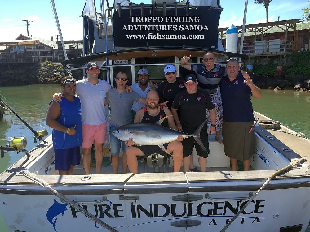 The Georgian Rugby Union Team with a solid 45kg yellowfin tuna back in Apia Marina