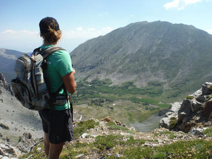 Amy overlooking Byers Peak and valley below from Eclipse Peak 7.29.16